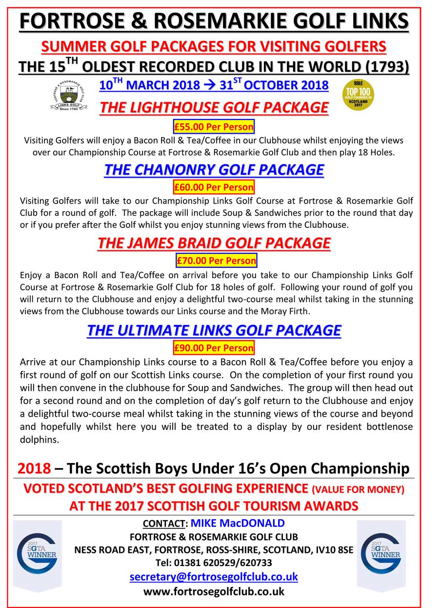 Golf Packages 2018