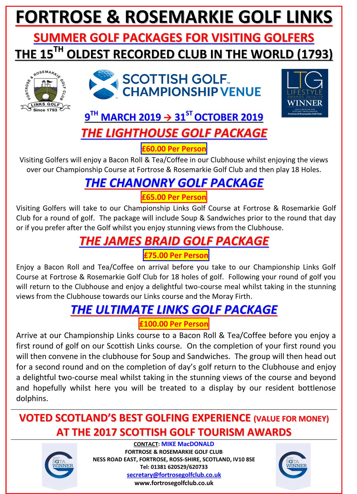 Fortrose & Rosemarkie Golf Packages - 2019