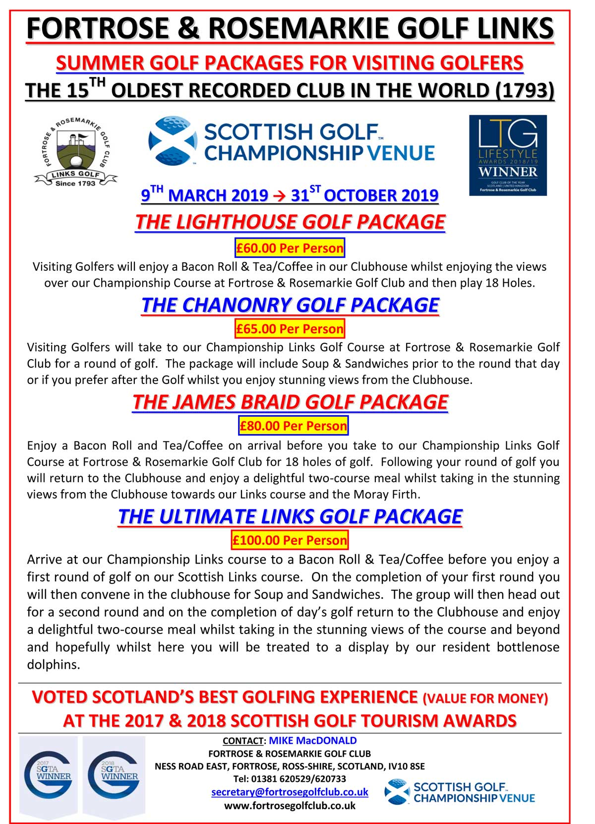 Fortrose Golf Packages 2019