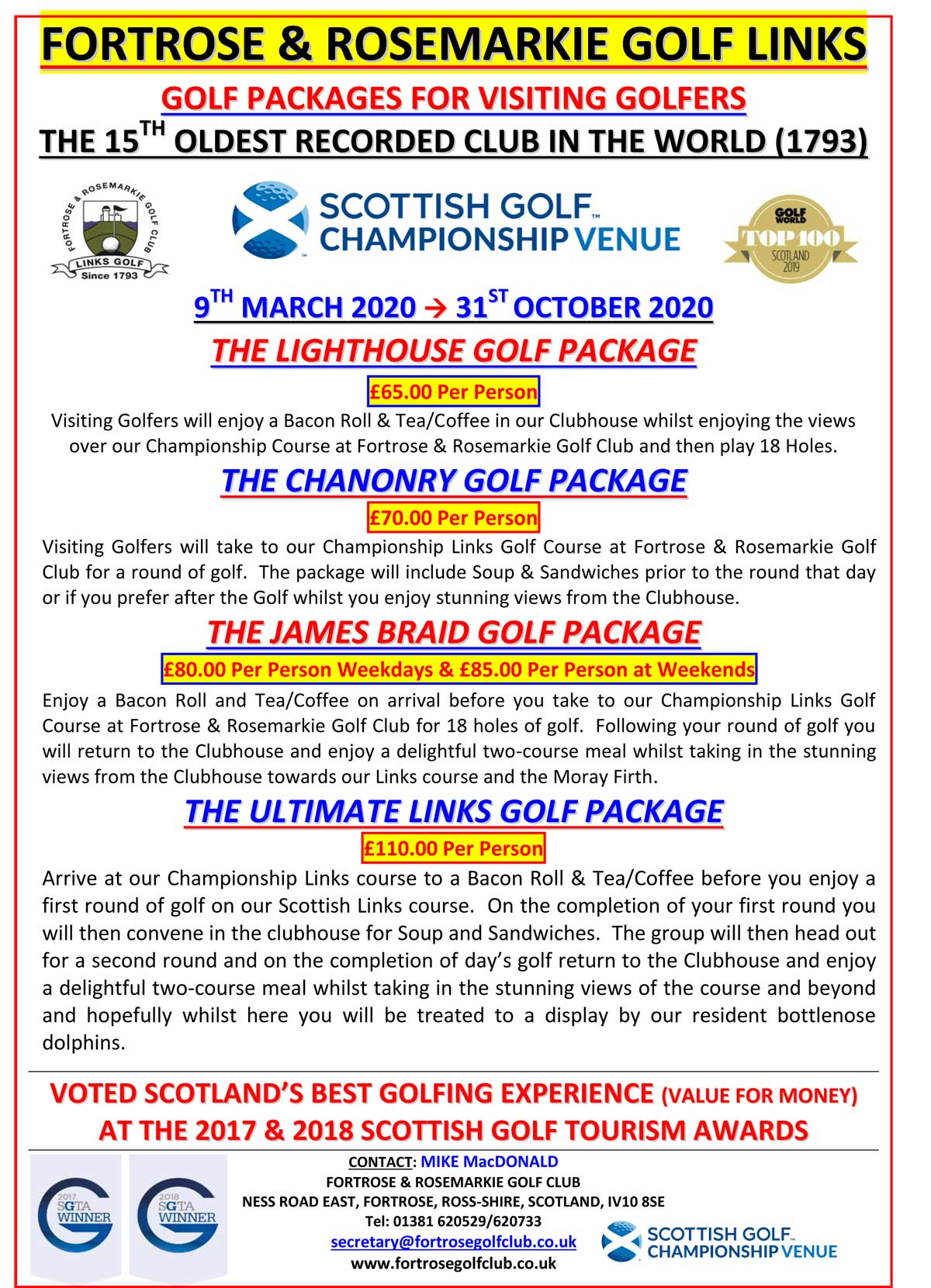 Fortrose Golf Packages 2020